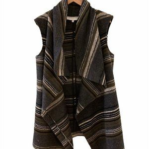 CUPCAKES & CASHMERE Striped wool blend open vest.